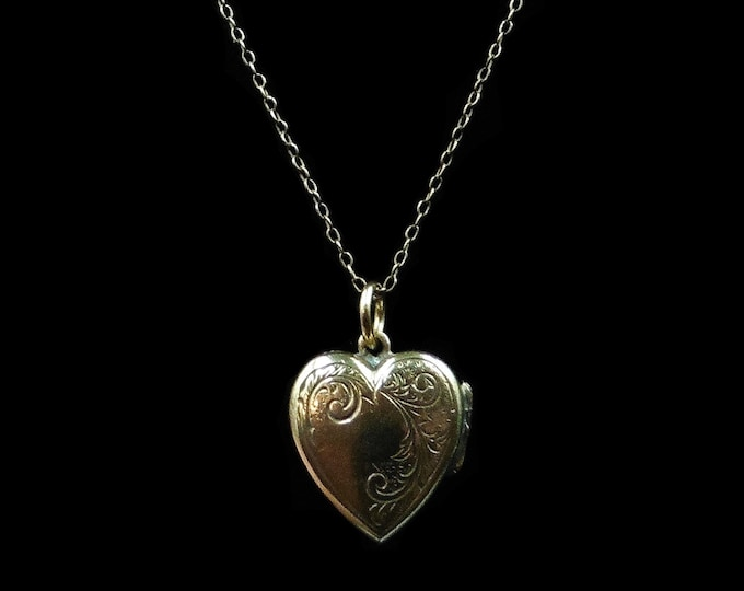 Antique Victorian Engraved Heart Rolled Gold Locket Pendant and Chain Necklace | Circa.1890