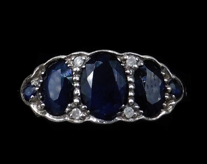 Blue Sapphire and Diamond Three Stone 15ct 15K Yellow Gold Ring | Antique Style
