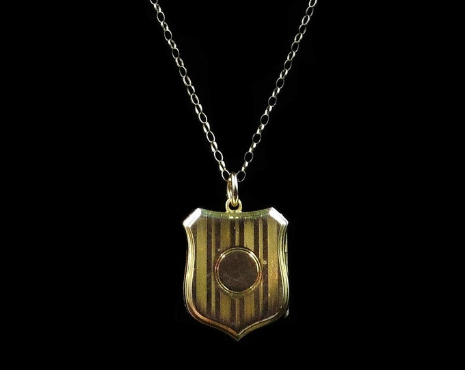 Antique Shield Striped 9ct Yellow Gold Photo Locket & Chain Necklace | Birmingham 1913 | 18""