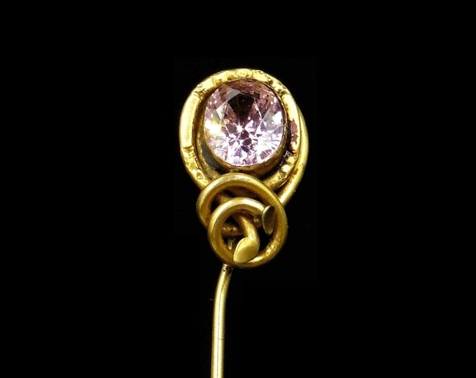 Antique Victorian Pink Paste Rolled Gold Fancy Stick Tie Pin | C.1880