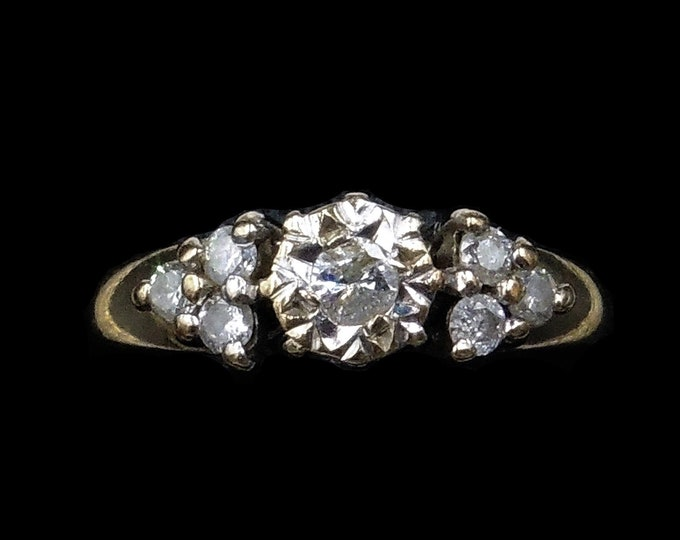 Vintage Diamond Solitaire 9ct 9K Yellow Gold Ring | 0.25ct Diamond | Engagement Ring