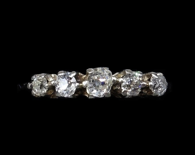 Antique Old Cut Diamond Five Stone 18ct 18K White Gold Ring | Engagement Eternity Band | c.1910