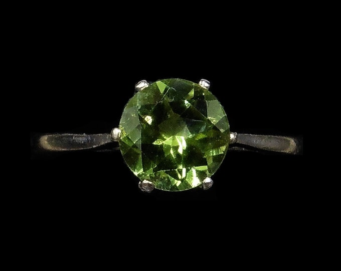 Vintage Peridot Round Single Stone Solitaire 18ct 18K White Gold Ring | London 1970