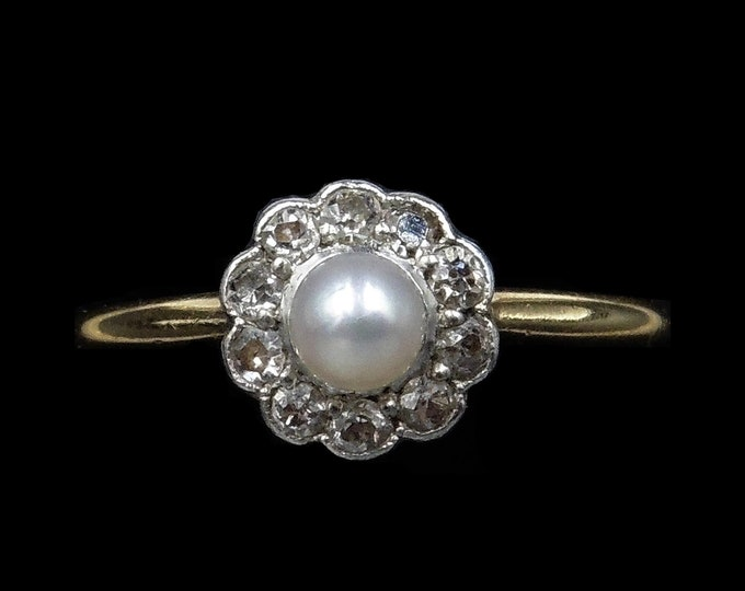 Antique Edwardian Diamond and Pearl Cluster 18ct 18K Yellow Gold Ring   Unique Engagement   Circa.1900