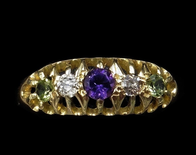 Antique Amethyst Peridot and Diamond Five Stone 18ct 18K Yellow Gold Ring | Suffragette