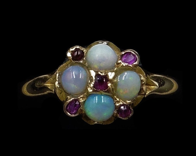 Antique Victorian Opal and Ruby 15ct 15k Yellow Gold Cluster Ring | Birmingham 1871