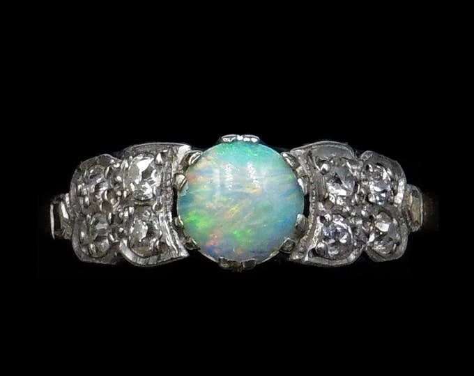 Antique Art Deco Natural Opal and Old Cut Diamond 18ct 18K Yellow Gold and Platinum Ring | Opal Engagement | Circa.1920