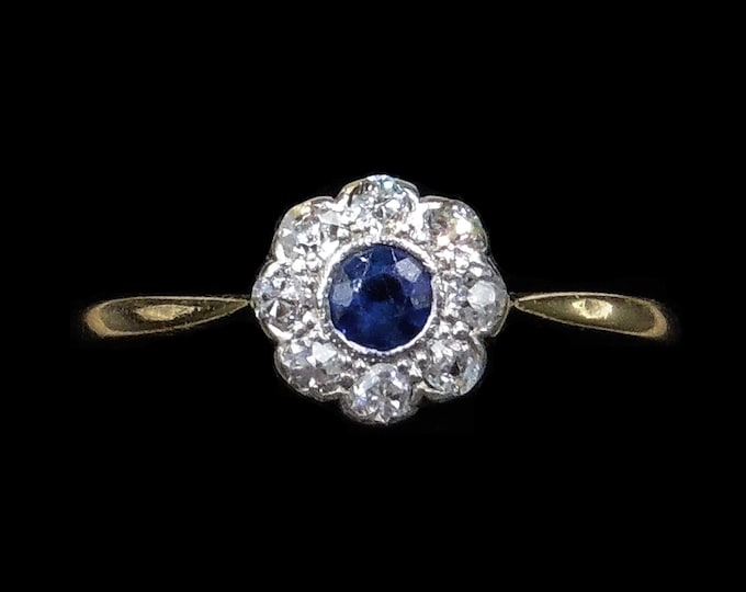 Antique Blue Sapphire and Diamond Halo Cluster Daisy 18ct 18K Yellow Gold and Platinum Ring | Circa.1910