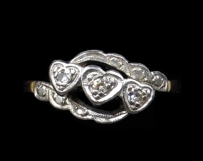 Antique Diamond Heart Three Stone Trilogy 18ct 18K Yellow Gold and Platinum Ring | C.1910