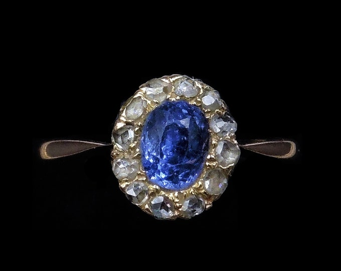 Antique Blue Sapphire and Rose Cut Diamond Oval Cluster Halo 9ct 9K Gold Ring   Circa.1890