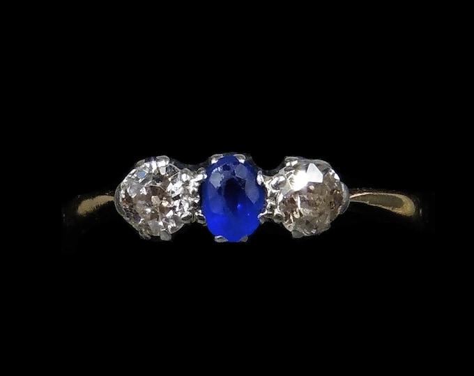 Antique Blue Sapphire and Old Cut Diamond Three Stone Trilogy 18K 18ct Gold Ring | Circa.1900