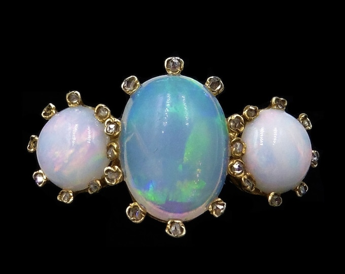 Antique Opal and Rose Cut Diamond Halo Three Stone Trilogy 18ct 18K Yellow Gold Ring | Victorian