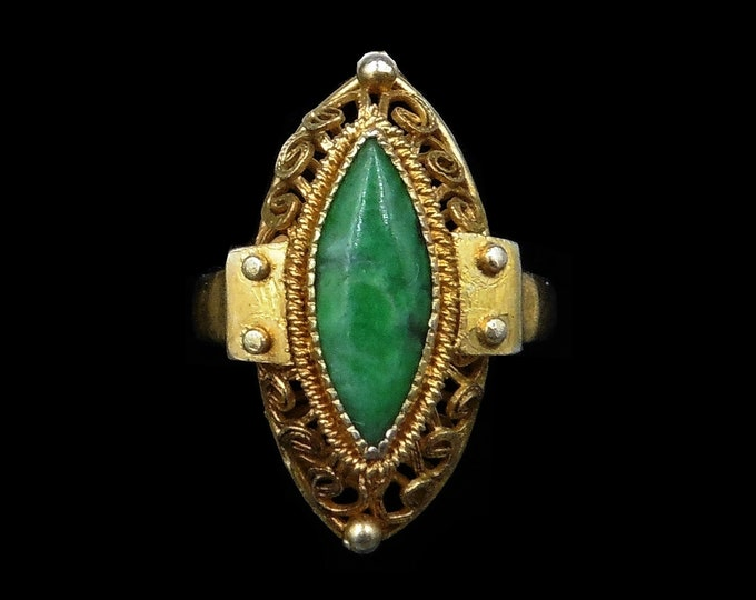 Vintage Jade Jadeite Marquise Navette Filigree Gold on Silver Statement Ring | Antique C.1930