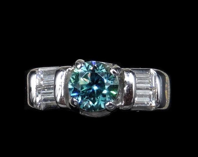 Vintage Blue Zircon and Baguette Cut Diamond 14ct 14K White Gold Ring | Art Deco Circa.1935