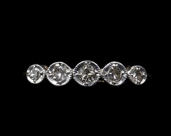 Antique Old Cut Diamond Bezel Five Stone 18ct 18K Yellow Gold and Platinum Ring   Circa.1910