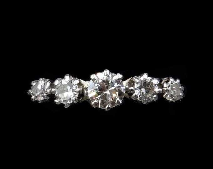 Antique Diamond Five Stone 18ct 18K White Gold and Platinum Ring | Engagement Eternity Band | c.1920