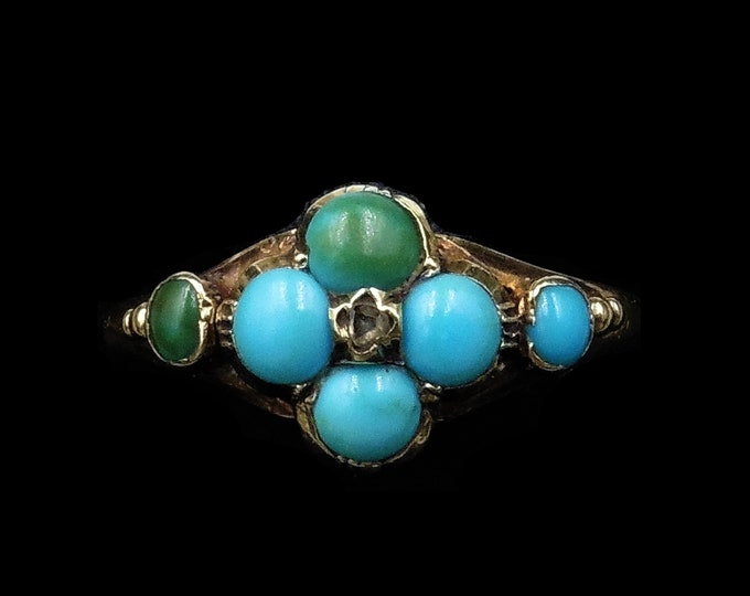 Antique Victorian Turquoise and Diamond 'Forget Me Not' Flower Cluster 15ct 15K Yellow Gold Ring | Circa.1880