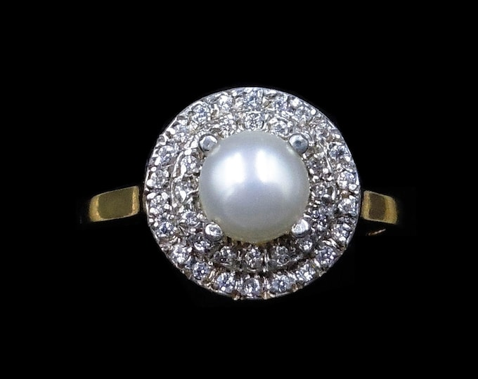 Cultured Pearl and Paste Round Cluster Halo 18ct 18K Yellow Gold on Silver Ring | Art Deco Vintage Style