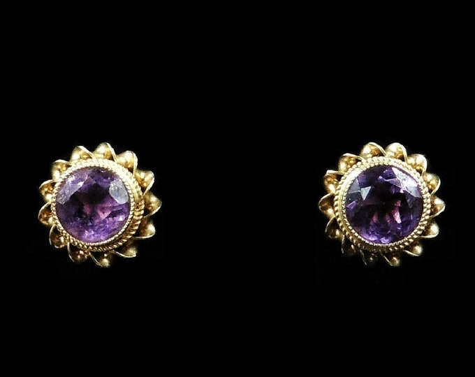 Vintage Amethyst 9ct 9K Yellow Gold Stud Earrings | Victorian Style | Birmingham 1972