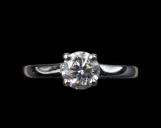 Round Diamond 0.50ct 1/2ct Solitaire 4 Claw 18ct 18K White Gold Ring | Engagement
