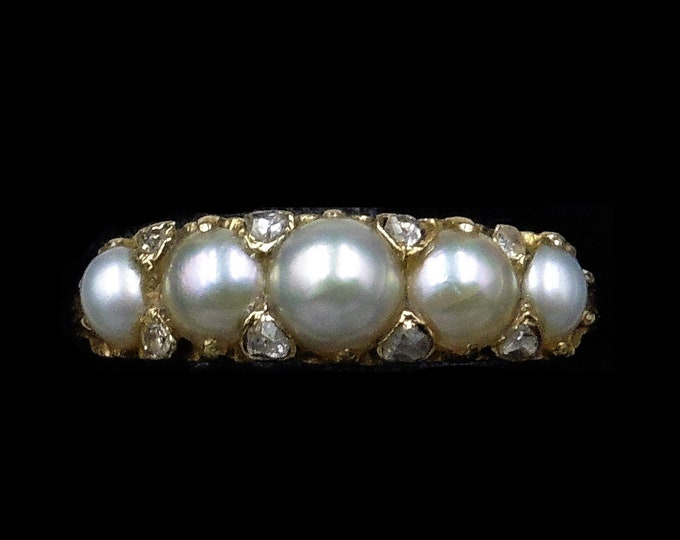 Antique Victorian Pearl and Diamond Five Stone 18ct 18K Yellow Gold Ring Band | Circa.1870