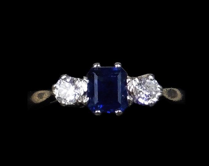 Art Deco Emerald Cut Blue Sapphire and Diamond Three Stone Trilogy 18K 18ct White Gold Ring | Circa.1920