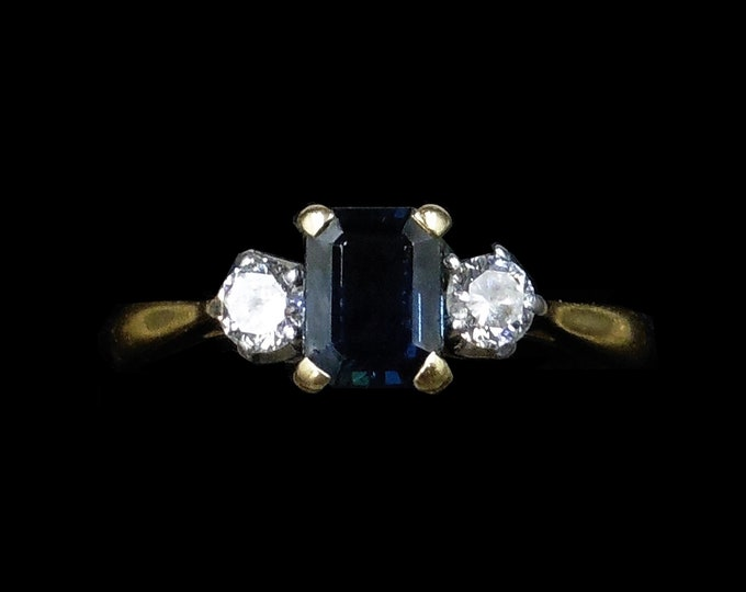Vintage Emerald Cut Blue Sapphire and Diamond Three Stone Trilogy 18K 18ct Yellow Gold and Platinum Ring