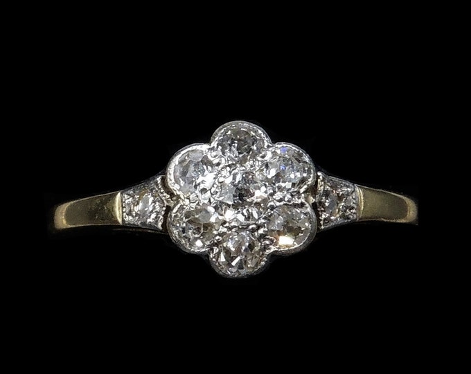 Antique Old Cut Diamond Cluster Flower Daisy 18ct 18K Yellow Gold and Platinum Ring | Art Deco Edwardian