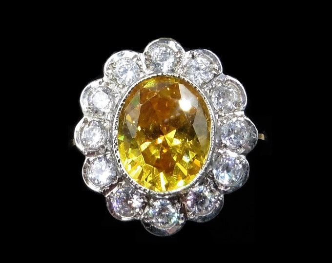 Yellow Sapphire Paste Cluster Halo 18ct 18K Yellow Gold Gilded Silver Ring | Antique Style