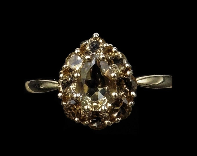 Citrine Cluster Halo Teardrop 9ct 9K Yellow Gold Ring