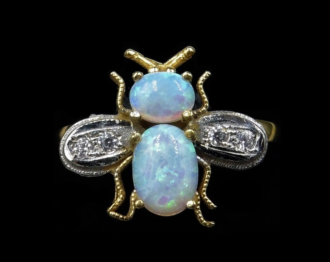 Opal and Paste Bee Insect Fly 18ct 18K Yellow Gold Gilded Silver Ring | Antique Vintage Style