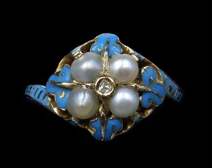 Antique Light Blue Enamel Diamond and Pearl Cluster 15ct 15K Yellow Gold Ring   Victorian Georgian