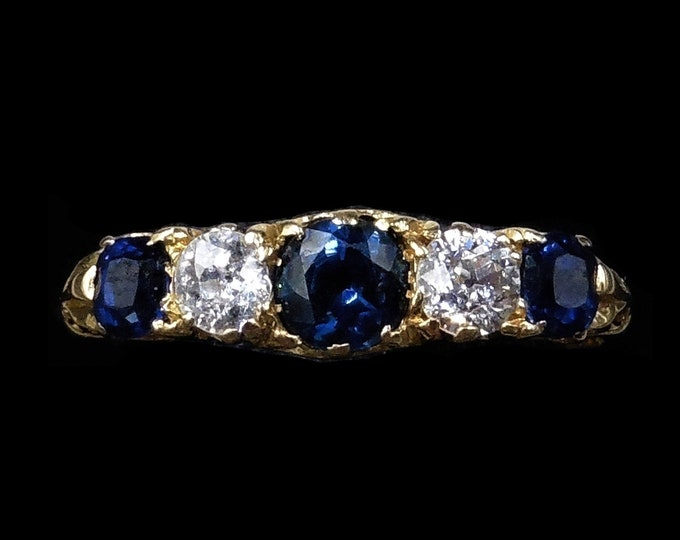 Antique Diamond and Blue Sapphire Five Stone 18K 18ct Yellow Gold Scroll Ring Band | Circa. 1890