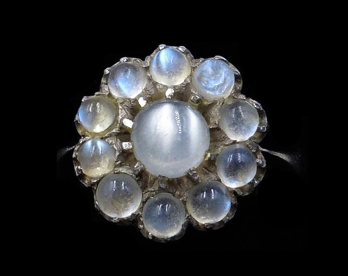 Antique Blue Moonstone Cluster Flower Daisy Sterling Silver Ring | Circa.1900