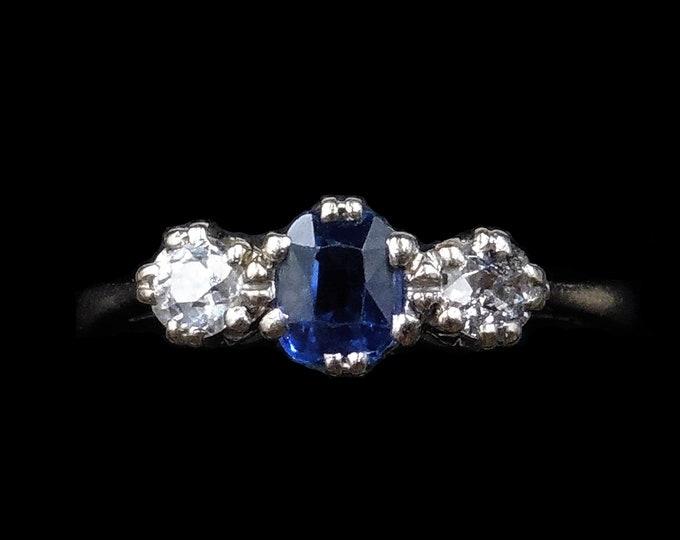 Antique Blue Sapphire and Diamond Three Stone Trilogy 18K 18ct White Gold Ring | Circa.1920