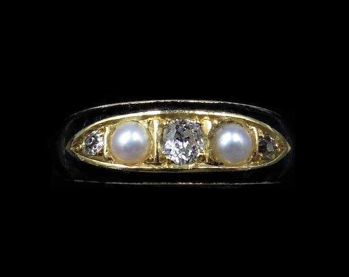 Antique Victorian Black Enamel Diamond and Pearl 18ct 18K Yellow Gold Mourning Ring Band | Chester 1899
