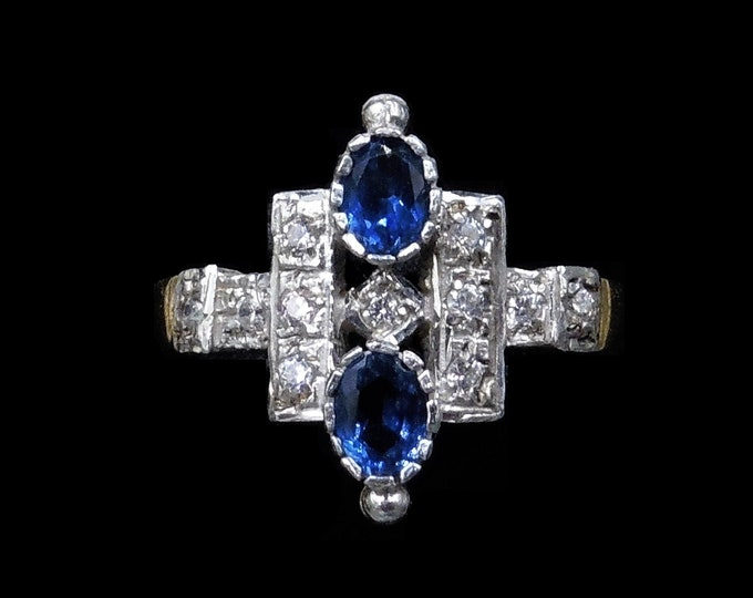 Blue Sapphire Paste Geometric 18ct 18K Gold Gilded Silver Ring   Antique Art Deco Style