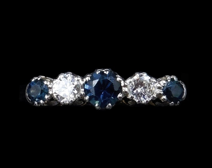 Antique Diamond and Blue Sapphire Five Stone 18K 18ct Yellow Gold and Platinum Ring Band | Circa. 1910