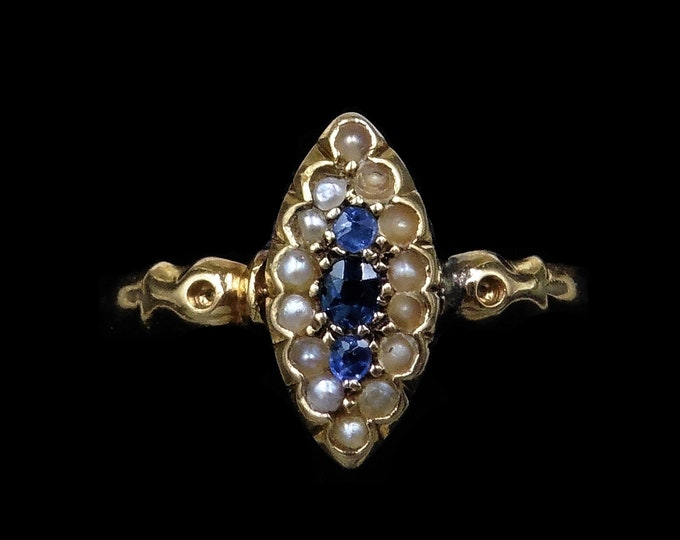 Antique Victorian Blue Sapphire and Pearl Halo Marquise Navette 18ct 18K Yellow Gold Ring | Hallmarked Chester 1895