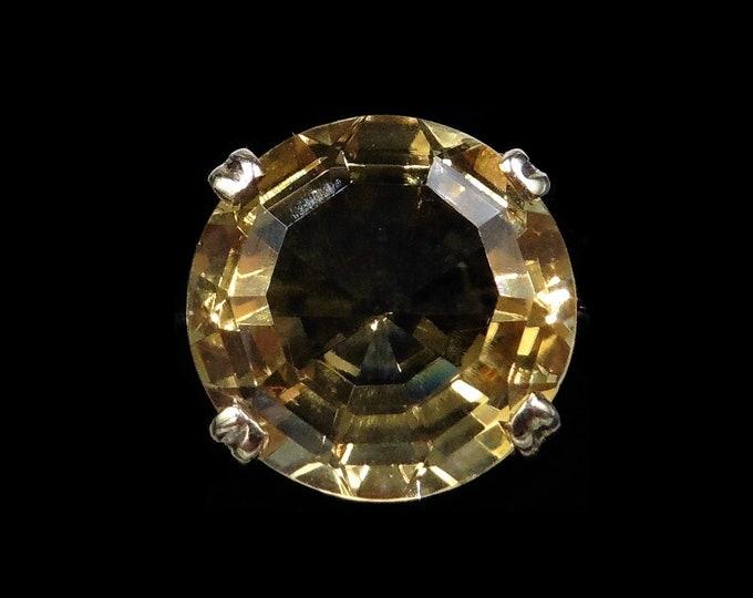 Vintage Round Citrine Statement Solitaire 9ct 9K Yellow Gold Ring   Edinburgh 1969