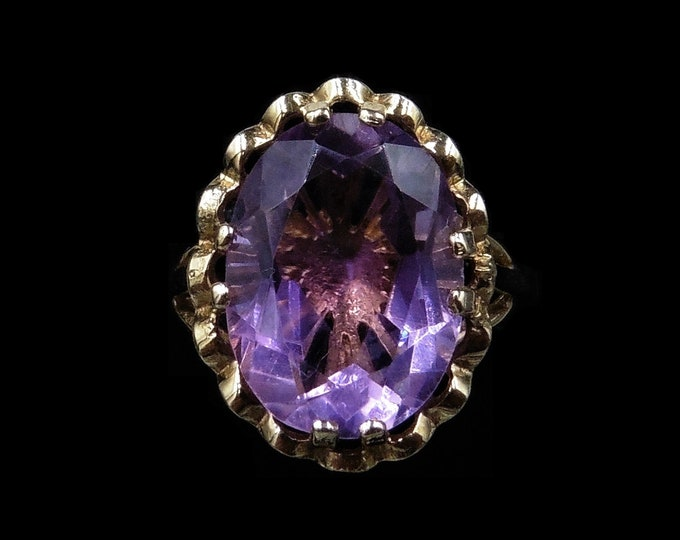 Vintage Amethyst 9ct 9K Yellow Gold Oval Solitaire Statement Ring   Birmingham 1991
