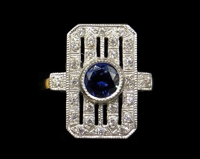 Blue Sapphire Paste Rectangle 18ct 18K Gold Gilded Silver Ring | Antique Art Deco Style