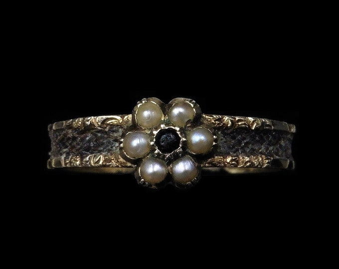 Antique Victorian Pearl Cluster Braided Hair 15ct 15K Yellow Gold Mourning Ring Band   Circa.1870