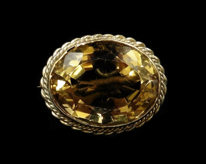 Antique Victorian Citrine Oval 9ct 9k Yellow Gold Brooch Pin | Circa. 1880