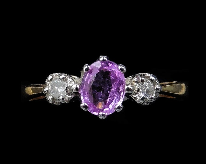 Vintage Pink Sapphire and Diamond Trilogy Three Stone 9ct 9K Yellow Gold Ring