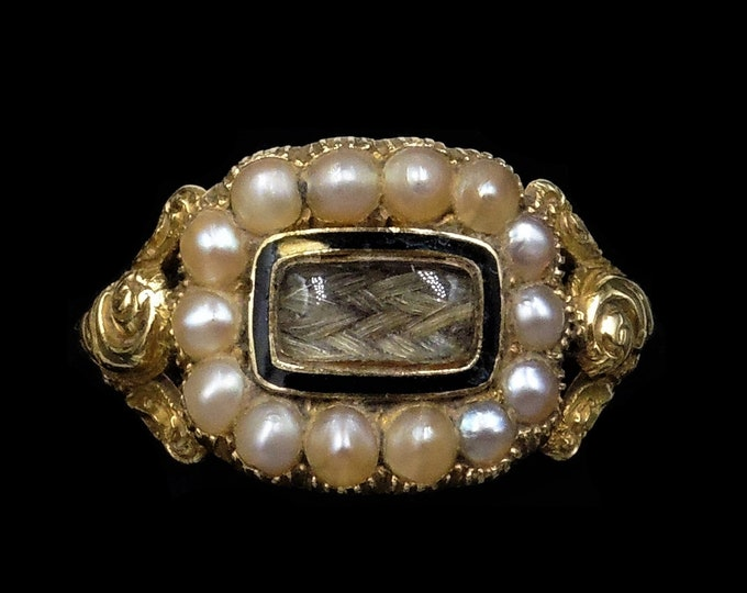 """Antique Georgian Pearl and Black Enamel 18ct 18K Yellow Gold Mourning Ring 