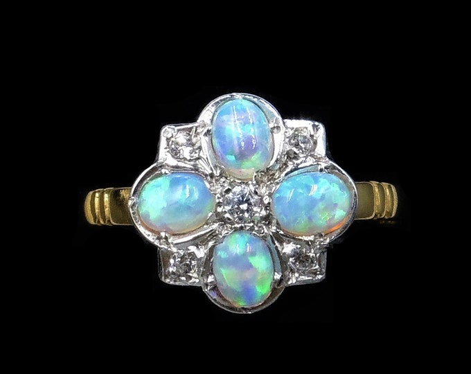 Opal and Paste Cluster 18ct 18K Yellow Gold Gilded Silver Ring | Antique Style