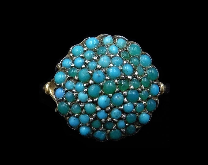 Antique Victorian Pave Turquoise Bombe Cluster 9ct Yellow Gold and Silver Ring | Circa. 1880