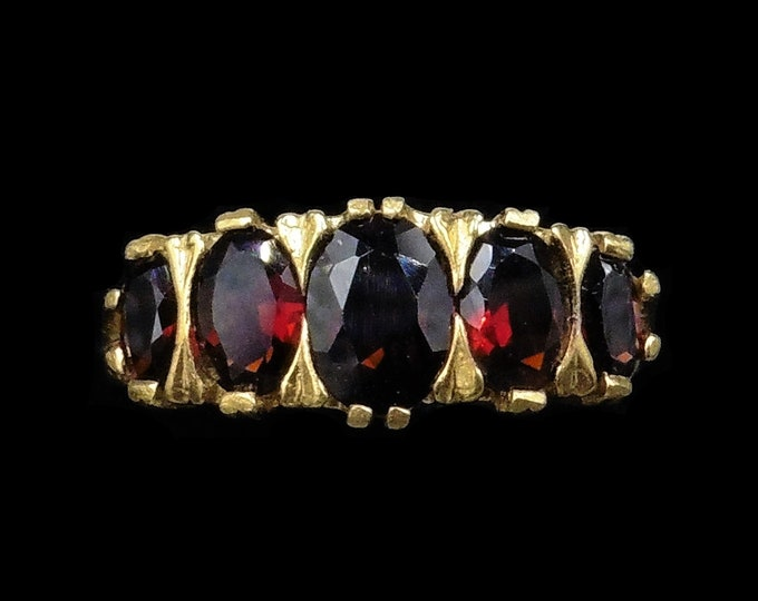 Garnet Five Stone Scroll 18ct 18K Yellow Gold Gilded Ring | Antique Victorian Style