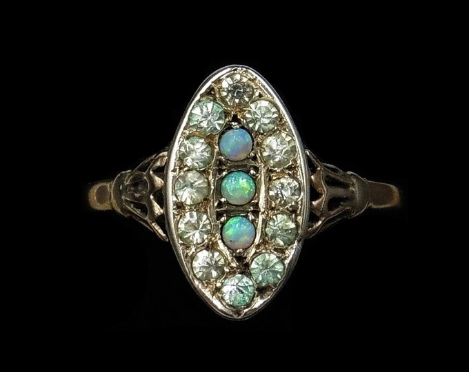 Antique Victorian Natural Opal and Paste Marquise Navette Cluster 9ct 9K Gold Ring | Circa.1900
